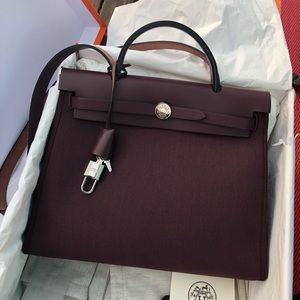EUC Hermes Herbag PM 31 Prune/ Chocolate color